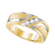 0.25 CTW Mens Diamond Wedding Anniversary Ring 10KT Two-tone Gold - REF-67X4Y