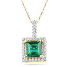 1.37 CTW Cushion Created Emerald Solitaire & Diamond Pendant 10KT Yellow Gold - REF-13H4M