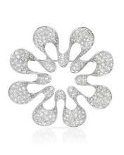 Genuine 2.84 CTW Diamond Brooch Brooch in 18K White Gold - REF-272N7F