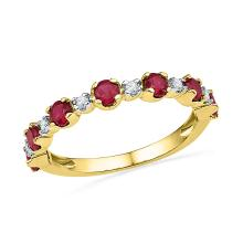 1.09 CTW Lab-Created Ruby Band 10K Yellow Gold - REF-18Y2V