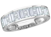 1 CTW Baguette & Princess Natural Diamond Anniversary Band 14K White Gold - REF-103H8X