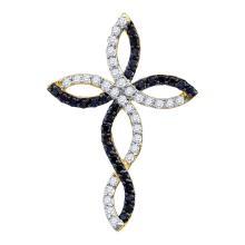 0.30 CTW Black Color Diamond Woven Infinity Cross Pendant 10KT Yellow Gold - REF-19F4N