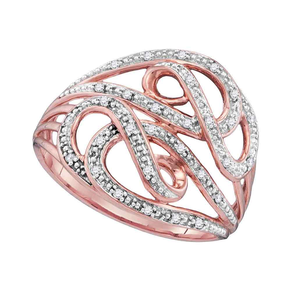 0.10 CTW Diamond Woven Strand Ring 10KT Rose Gold - REF-18F2N