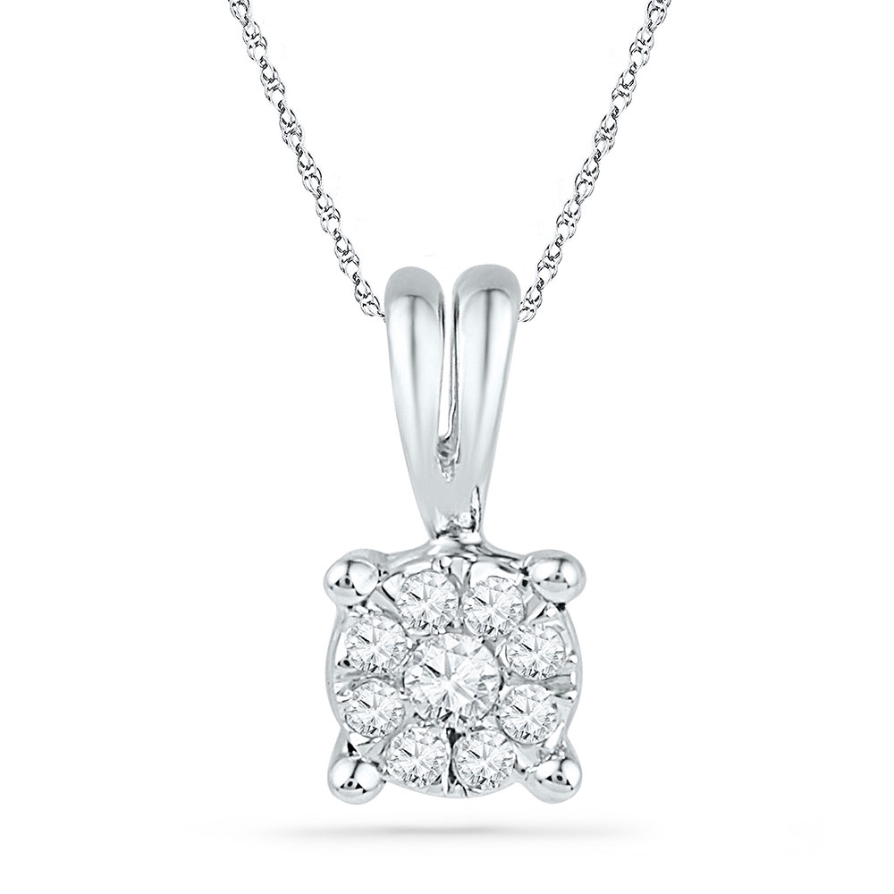 0.09 CTW Diamond Cluster Pendant 10KT White Gold - REF-9M7H