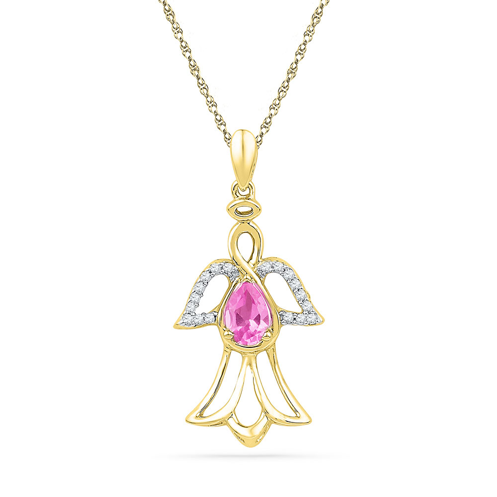 0.59 CTW Pear Created Pink Sapphire Angel Pendant 10KT Yellow Gold - REF-14X9Y