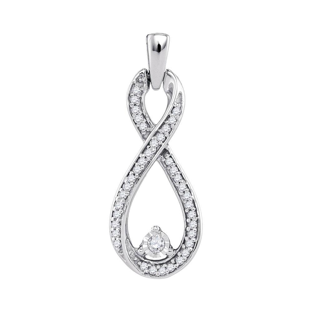 0.16 CTW Diamond Infinity Pendant 10KT White Gold - REF-14W9K