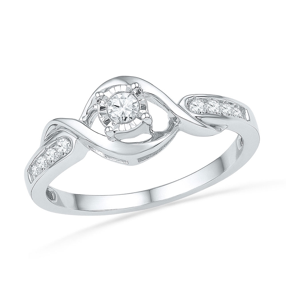 0.16 CTW Diamond Solitaire Promise Bridal Ring 10KT White Gold - REF-22N4F
