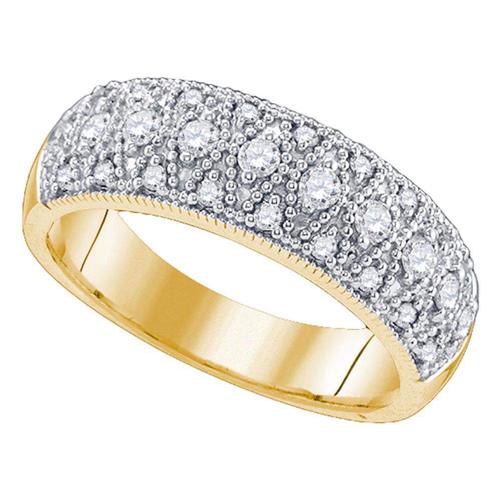 0.59 CTW Diamond Milgrain Ring 14KT Yellow Gold - REF-64Y4X