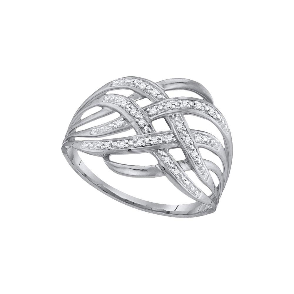 0.05 CTW Diamond Woven Fashion Ring 10KT White Gold - REF-11H2M