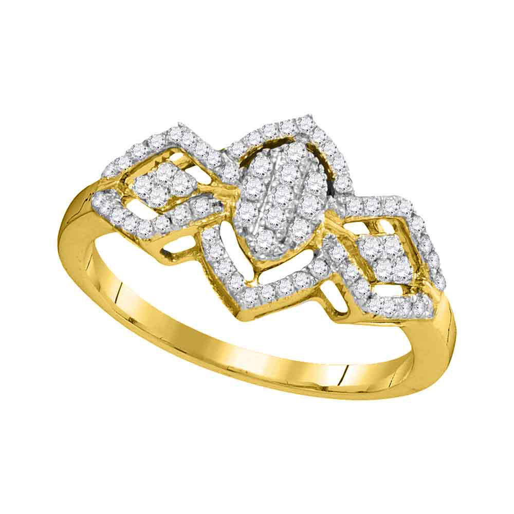 0.33 CTW Diamond Oval Cluster Ring 10KT Yellow Gold - REF-22M4H