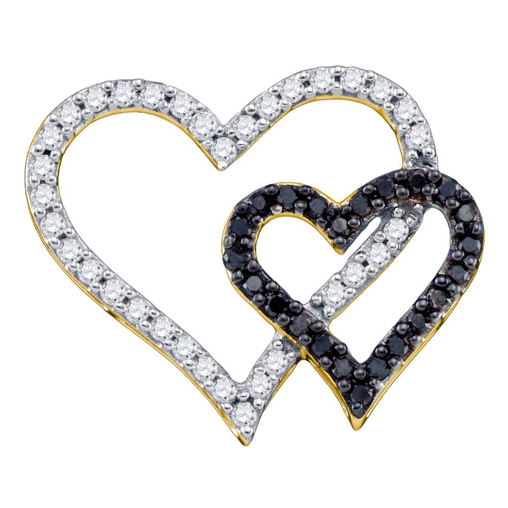 0.53 CTW Black Color Diamond Double Heart Pendant 10KT Yellow Gold - REF-30K2W