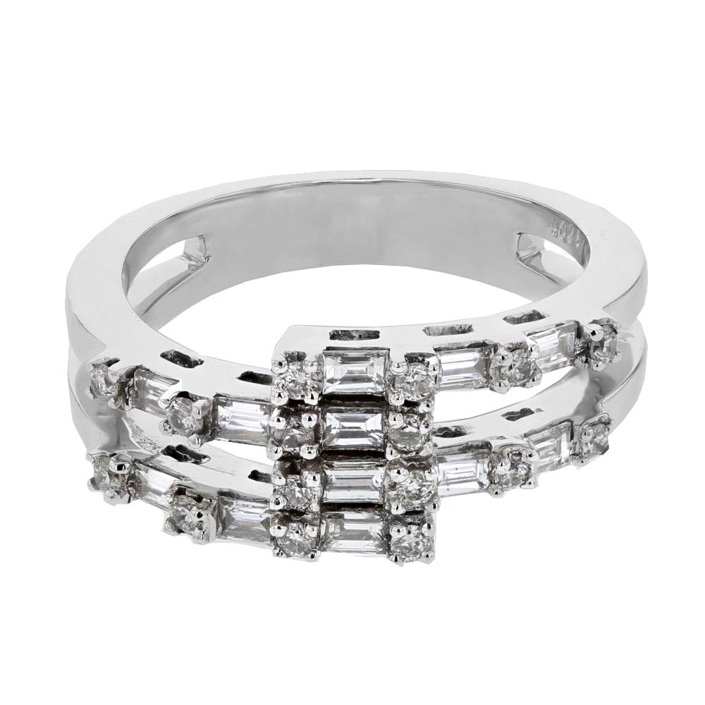 0.69 CTW Diamond Ring 18K White Gold - REF-86R4K