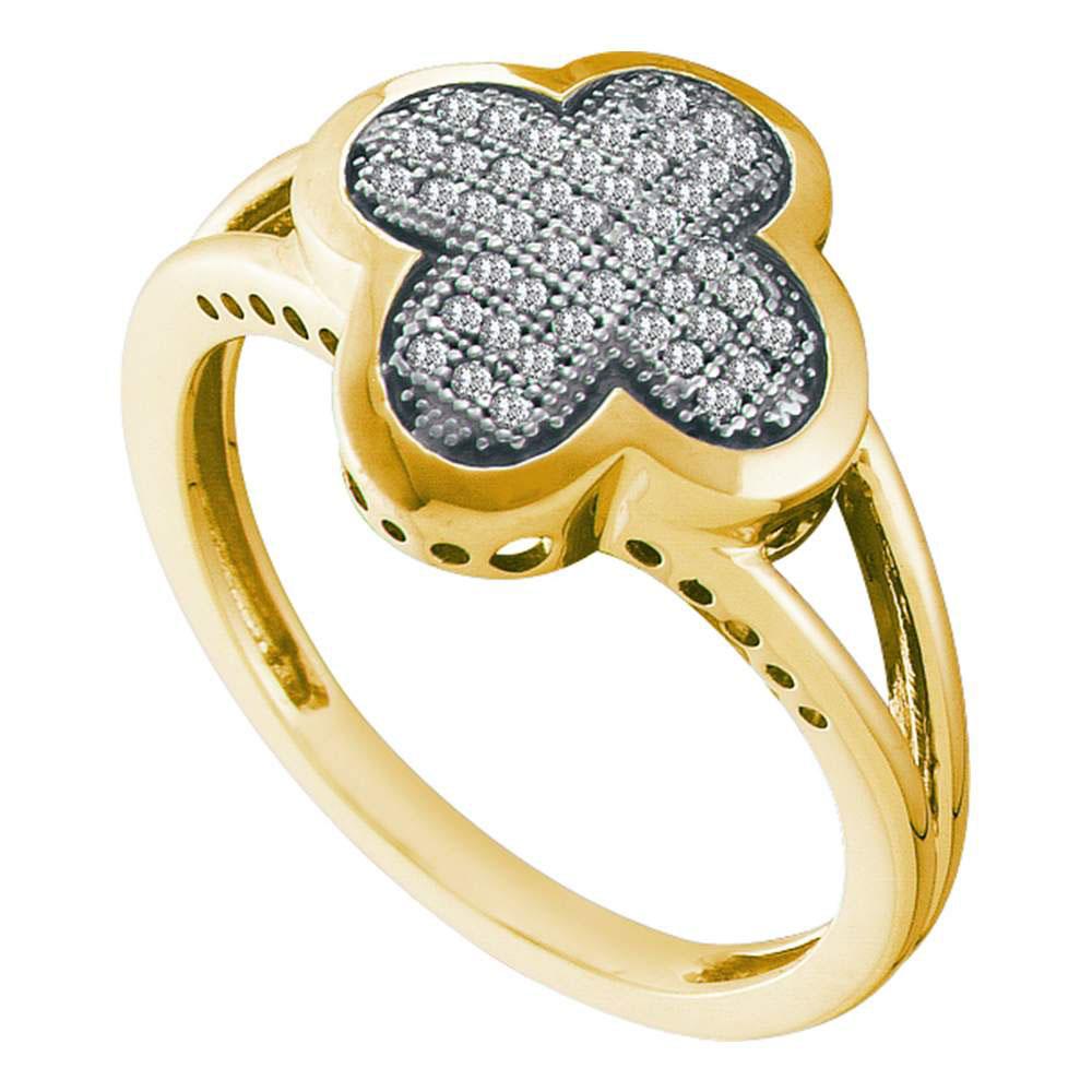 0.15 CTW Diamond Cluster Ring 10KT Yellow Gold - REF-24W2K