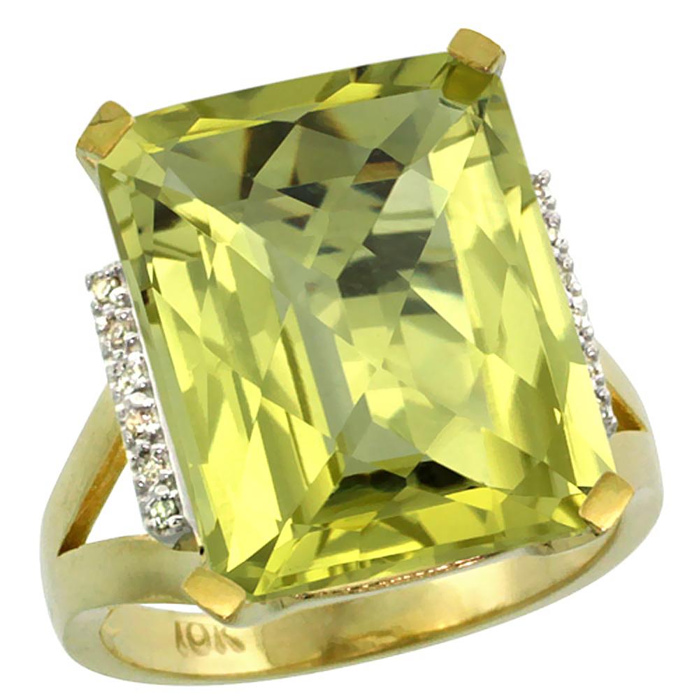 Natural 12.13 ctw Lemon-quartz & Diamond Engagement Ring 14K Yellow Gold - REF-67Y2X