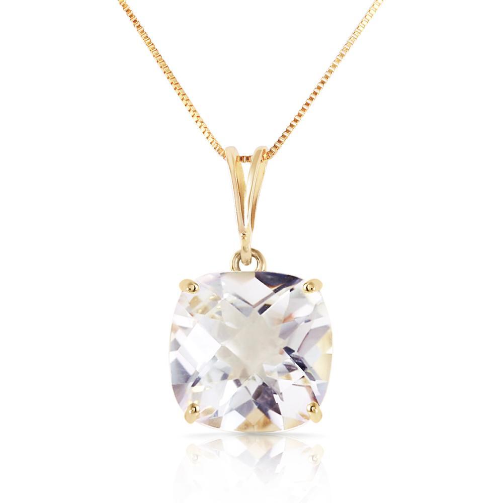 Genuine 3.6 ctw White Topaz Necklace Jewelry 14KT Yellow Gold - REF-28N9R