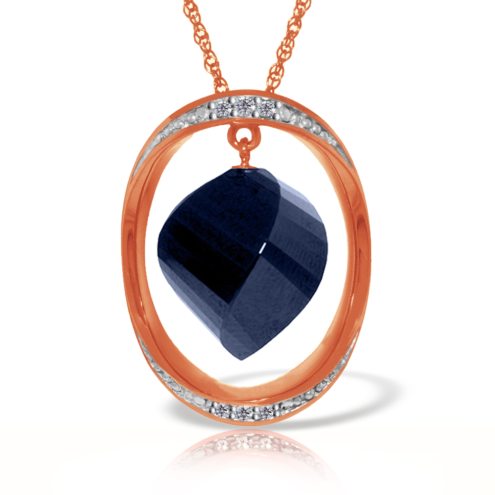 Genuine 15.35 ctw Sapphire & Diamond Necklace Jewelry 14KT Rose Gold - REF-124P2H