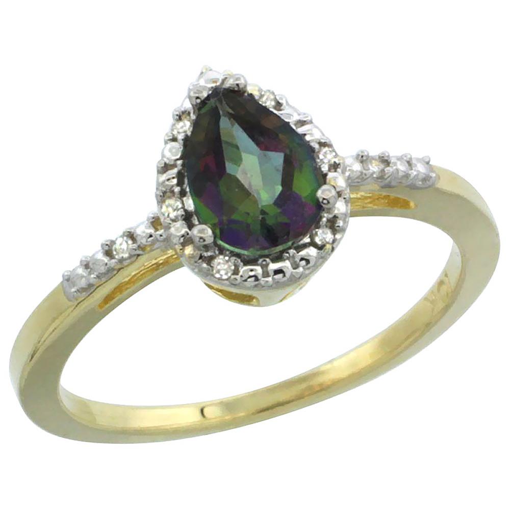 Natural 1.53 ctw mystic-topaz & Diamond Engagement Ring 14K Yellow Gold - REF-25H5W