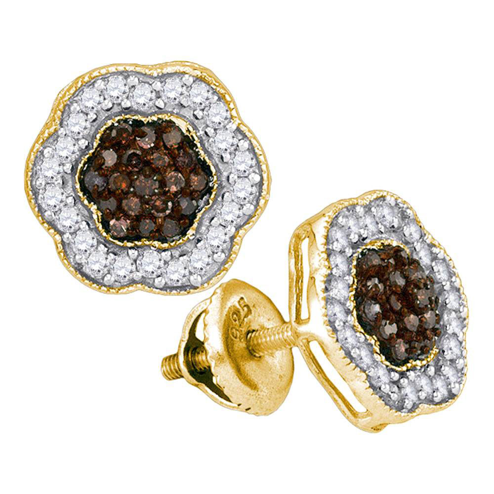 0.50 CTW Cognac-brown Color Diamond Polygon Cluster Earrings 10KT Yellow Gold - REF-26F9N
