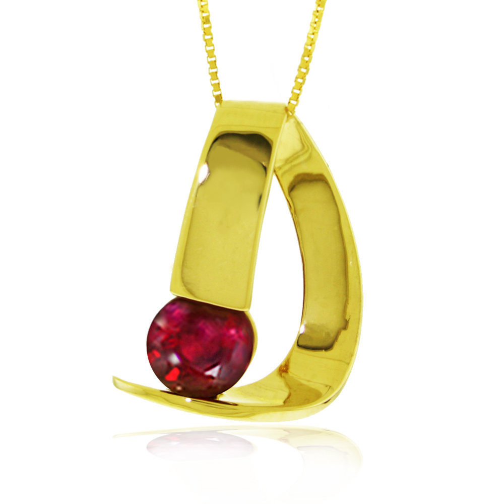 Genuine 1.50 ctw Ruby Necklace Jewelry 14KT Yellow Gold - REF-58M4T