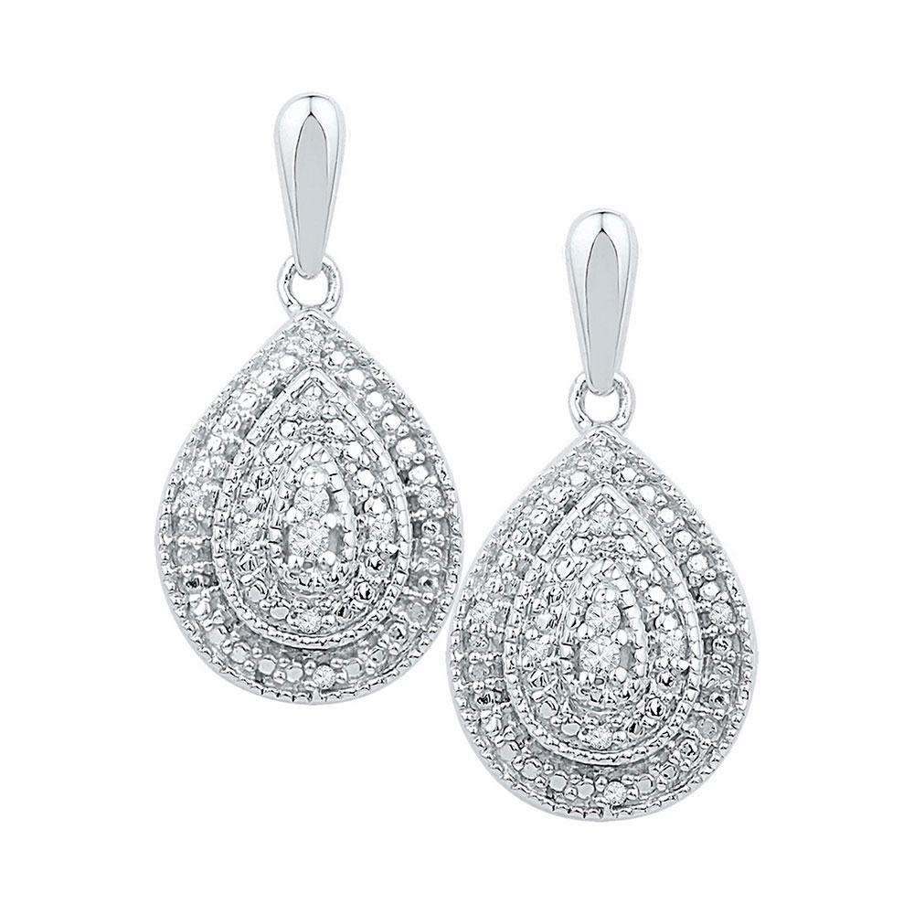 0.10 CTW Diamond Milgrain Teardrop Screwback Dangle Earrings 10KT White Gold - REF-26F9N