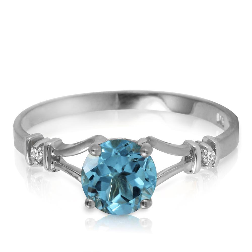 Genuine 1.02 ctw Blue Topaz & Diamond Ring Jewelry 14KT White Gold - REF-28V3W