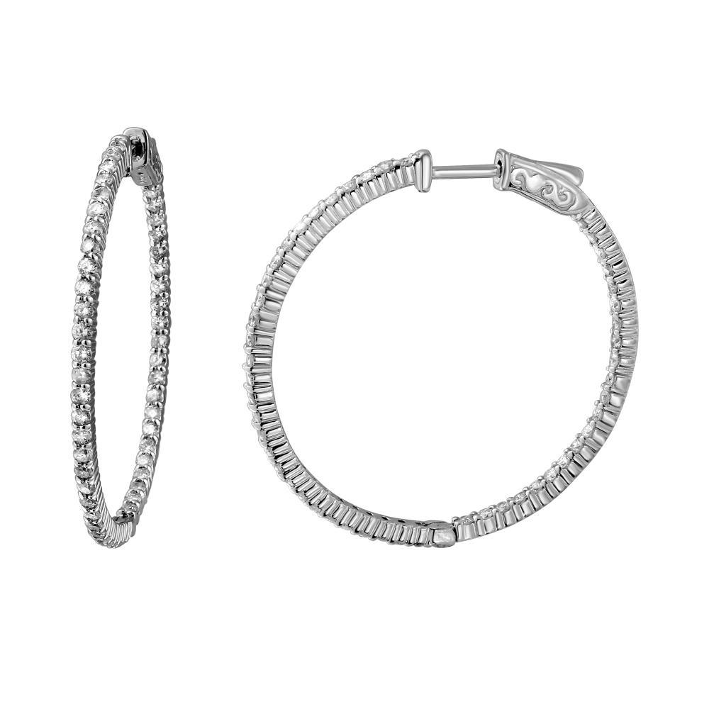 1.97 CTW Diamond Earrings 14K White Gold - REF-171W3H