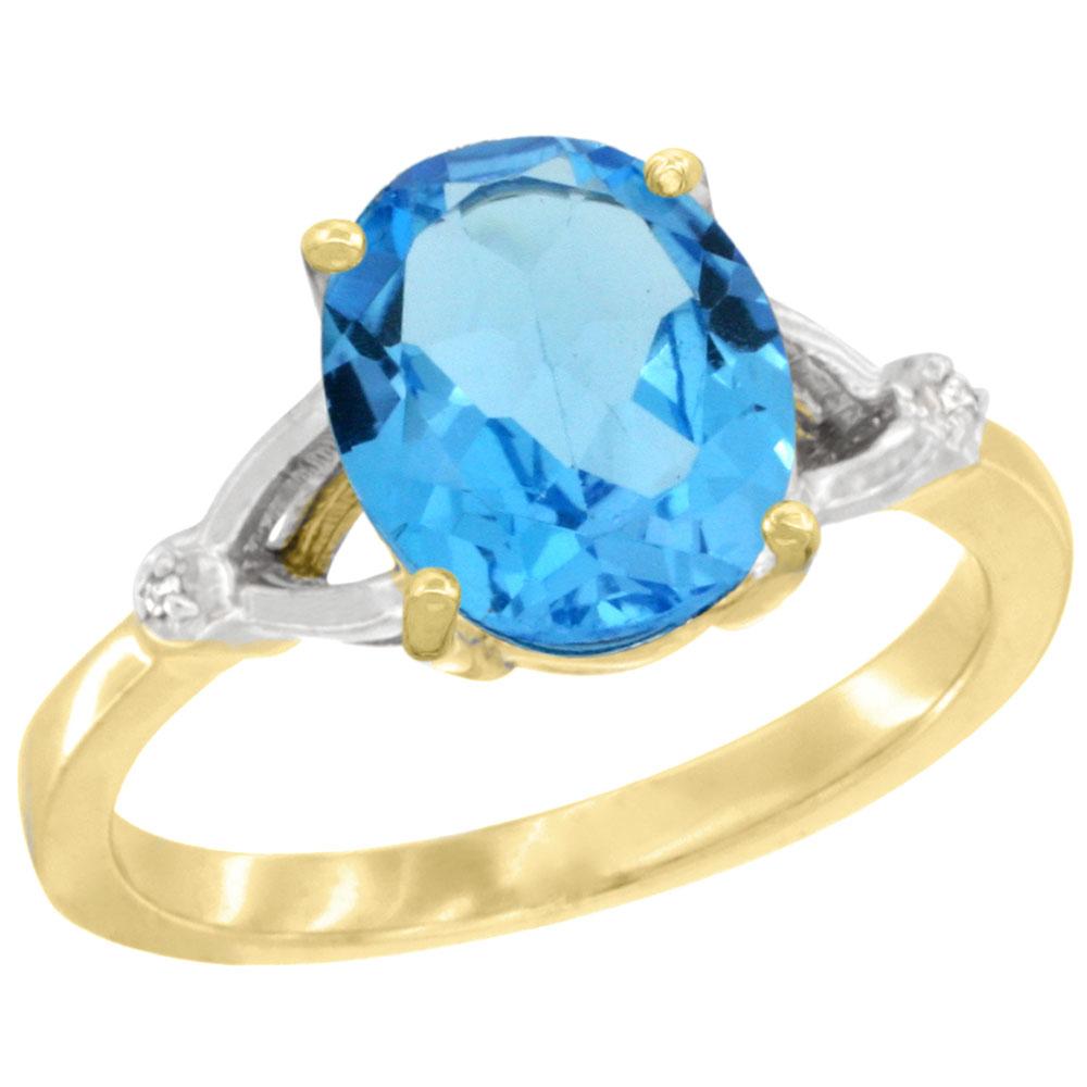 Natural 2.41 ctw Swiss-blue-topaz & Diamond Engagement Ring 10K Yellow Gold - REF-24R6Z