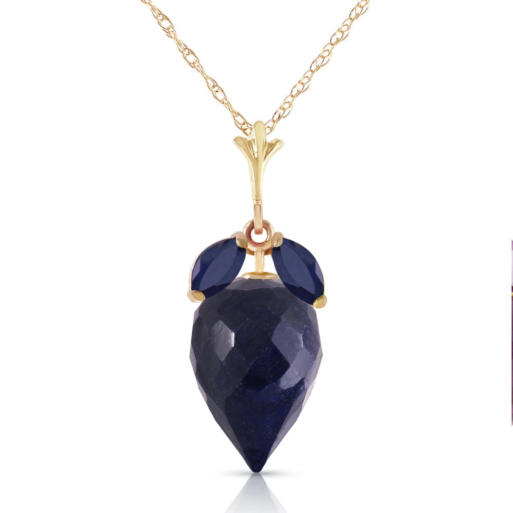 Genuine 13.4 ctw Sapphire Necklace Jewelry 14KT Yellow Gold - REF-34M3T