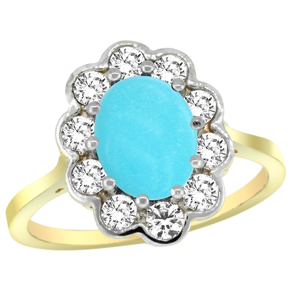 Natural 2.34 ctw Turquoise & Diamond Engagement Ring 14K Yellow Gold - REF-84F2N