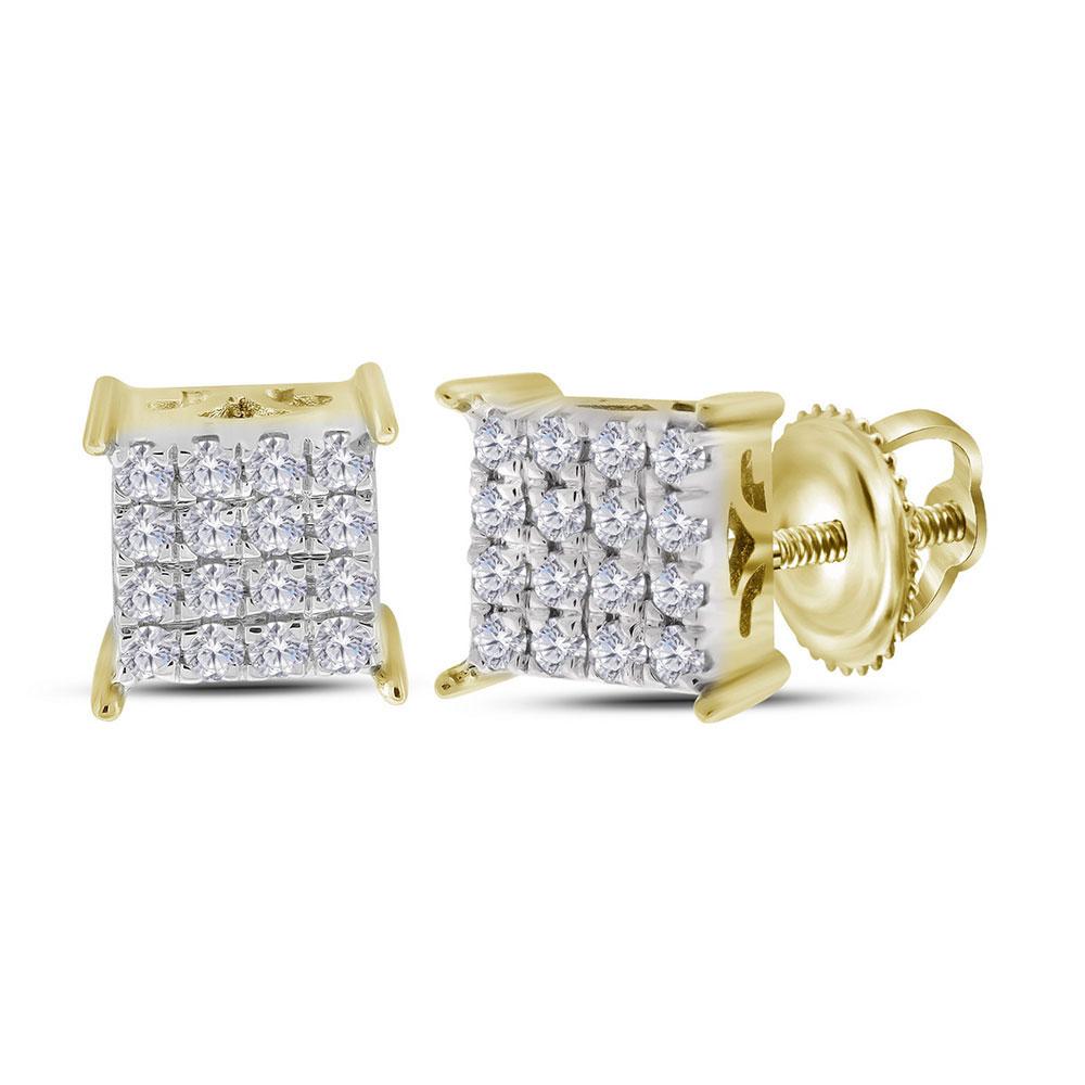 0.23 CTW Diamond Square Cluster Stud Earrings 10KT Yellow Gold - REF-22K4W
