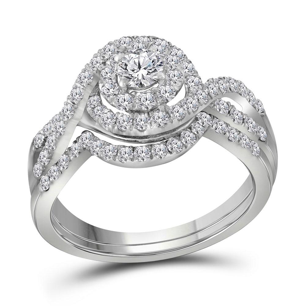 1 CTW Diamond Swirl Halo Bridal Engagement Ring 14KT White Gold - REF-97M4H