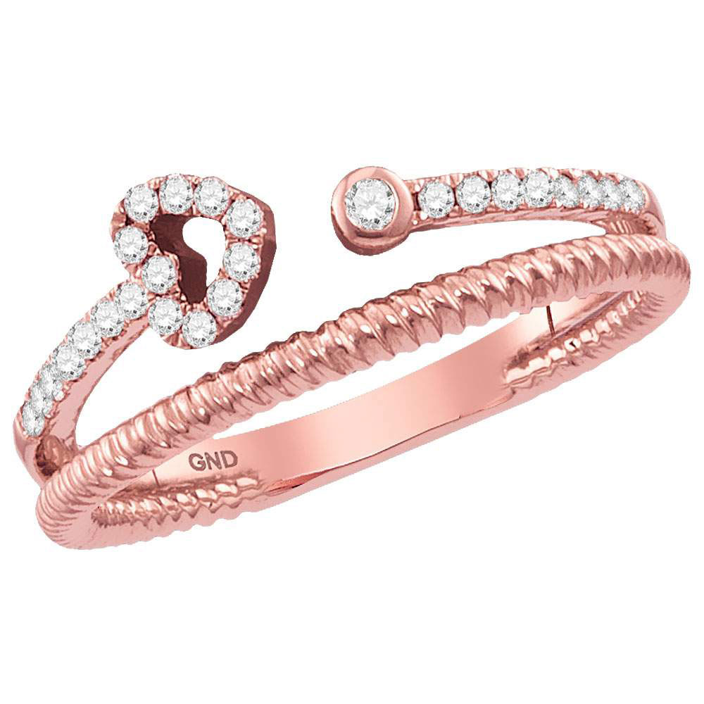 0.15 CTW Diamond Heart Bisected Stackable Ring 10KT Rose Gold - REF-20Y9X