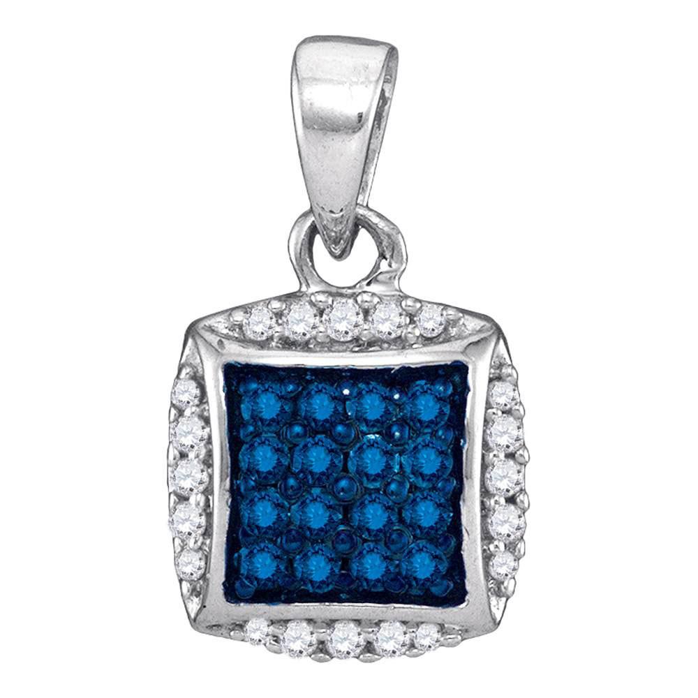 0.25 CTW Blue Color Diamond Square Pendant 10KT White Gold - REF-13K4W