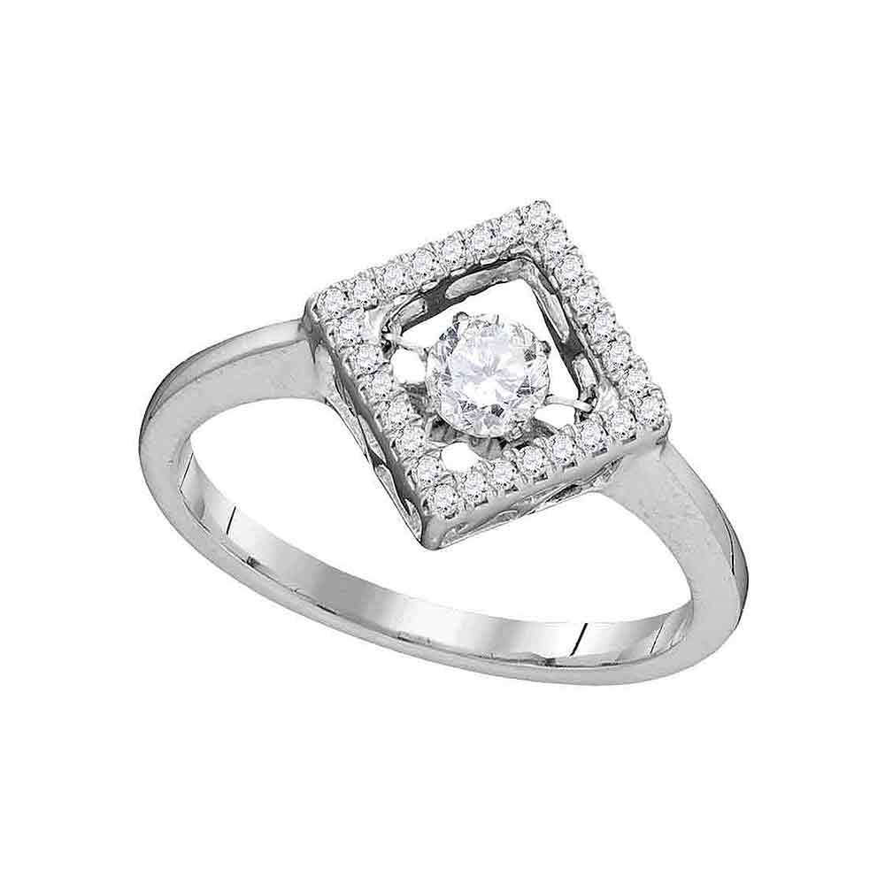 0.19 CTW Diamond Solitaire Diagonal Square Ring 10KT White Gold - REF-33X8Y