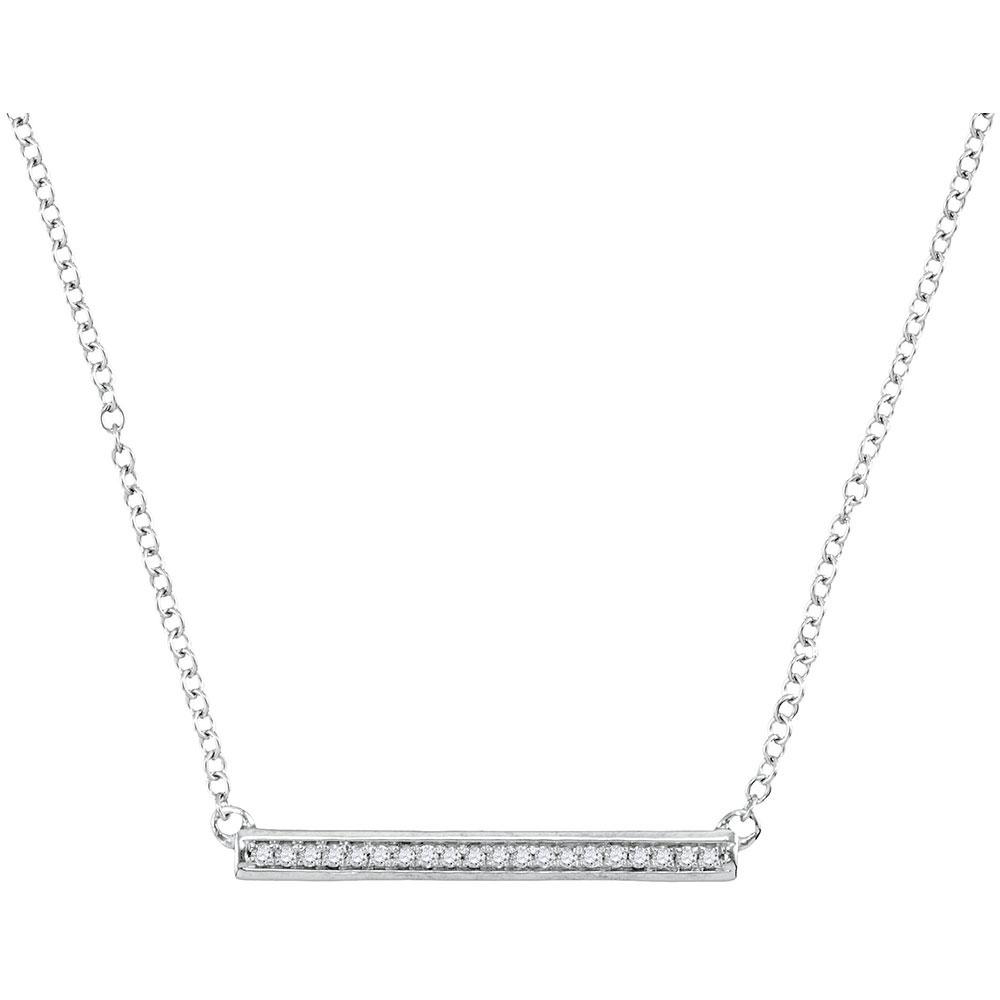 0.11 CTW Diamond Bar Pendant 10KT White Gold - REF-18X7Y