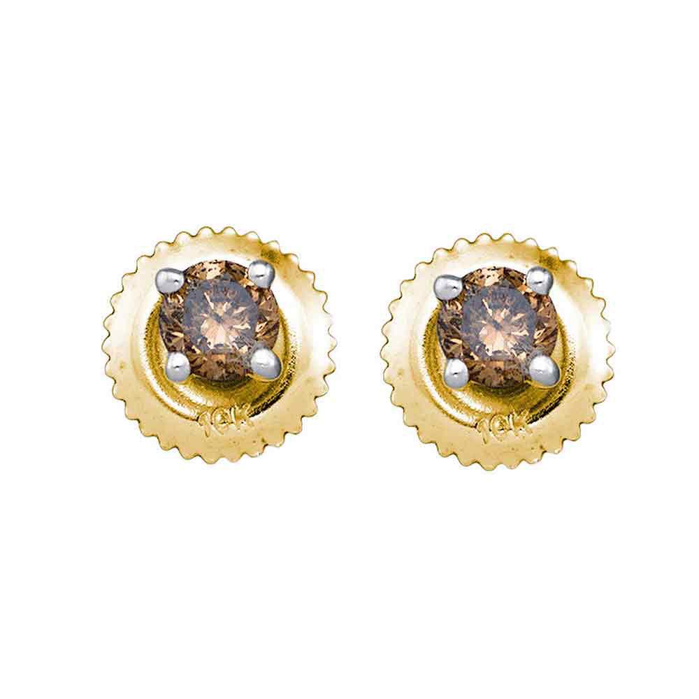 0.50 CTW Cognac-brown Color Diamond Solitaire Stud Earrings 10KT Yellow Gold - REF-22K4W