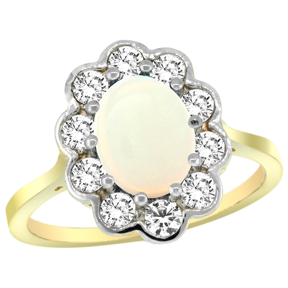 Natural 1.64 ctw Opal & Diamond Engagement Ring 10K Yellow Gold - REF-69V6F