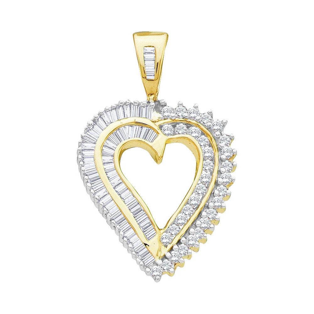 0.84 CTW Diamond Heart Love Pendant 10KT Yellow Gold - REF-44X9Y