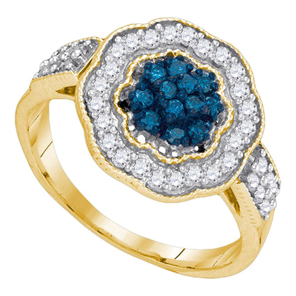 0.50 CTW Blue Color Diamond Octagon Cluster Ring 10KT Yellow Gold - REF-34N4F