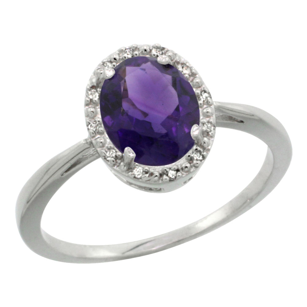 Natural 1.22 ctw Amethyst & Diamond Engagement Ring 10K White Gold - REF-20A3V