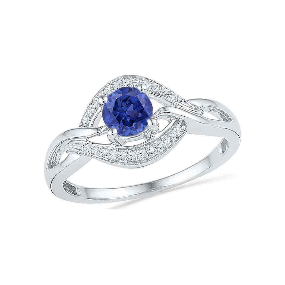 0.60 CTW Created Blue Sapphire Solitaire Woven Ring 10KT White Gold - REF-18N2F