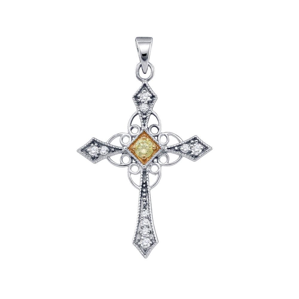 0.30 CTW Yellow Color Diamond Cross Pendant 10KT White Gold - REF-26F9N