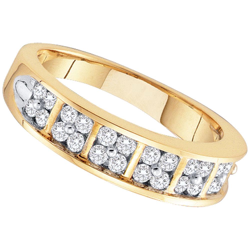 0.50 CTW Diamond Double Row Ring 14KT Yellow Gold - REF-57W2K