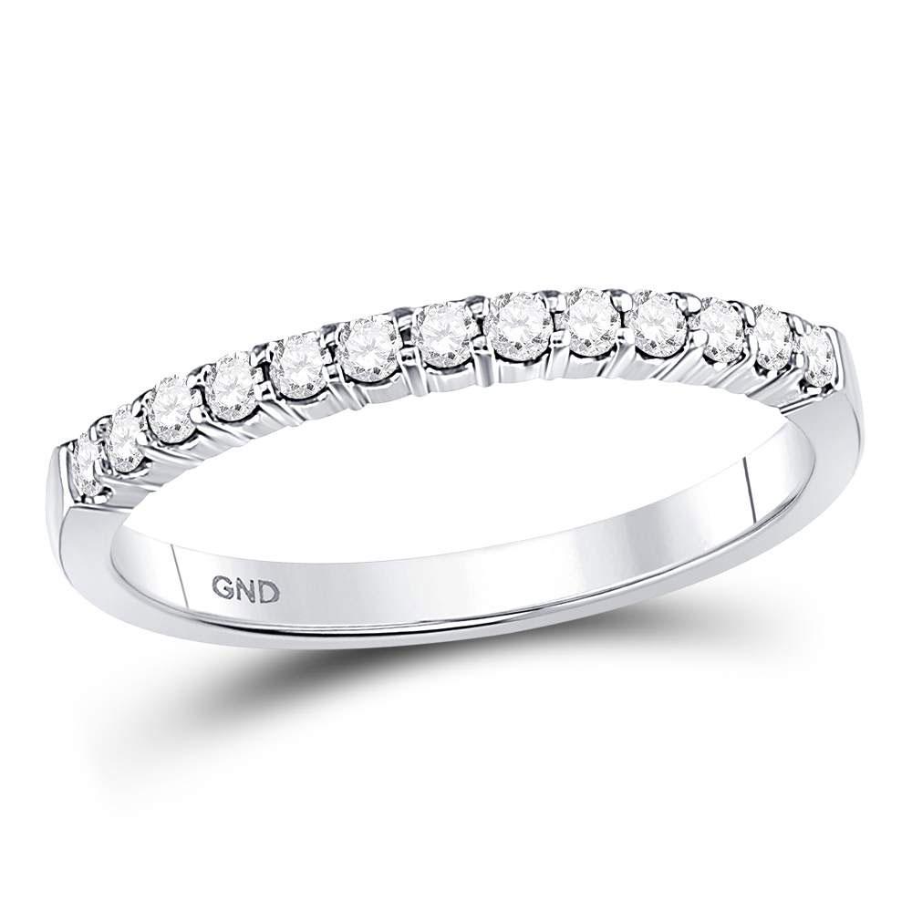 0.25 CTW Diamond Machine-set Wedding Ring 14KT White Gold - REF-37N5F