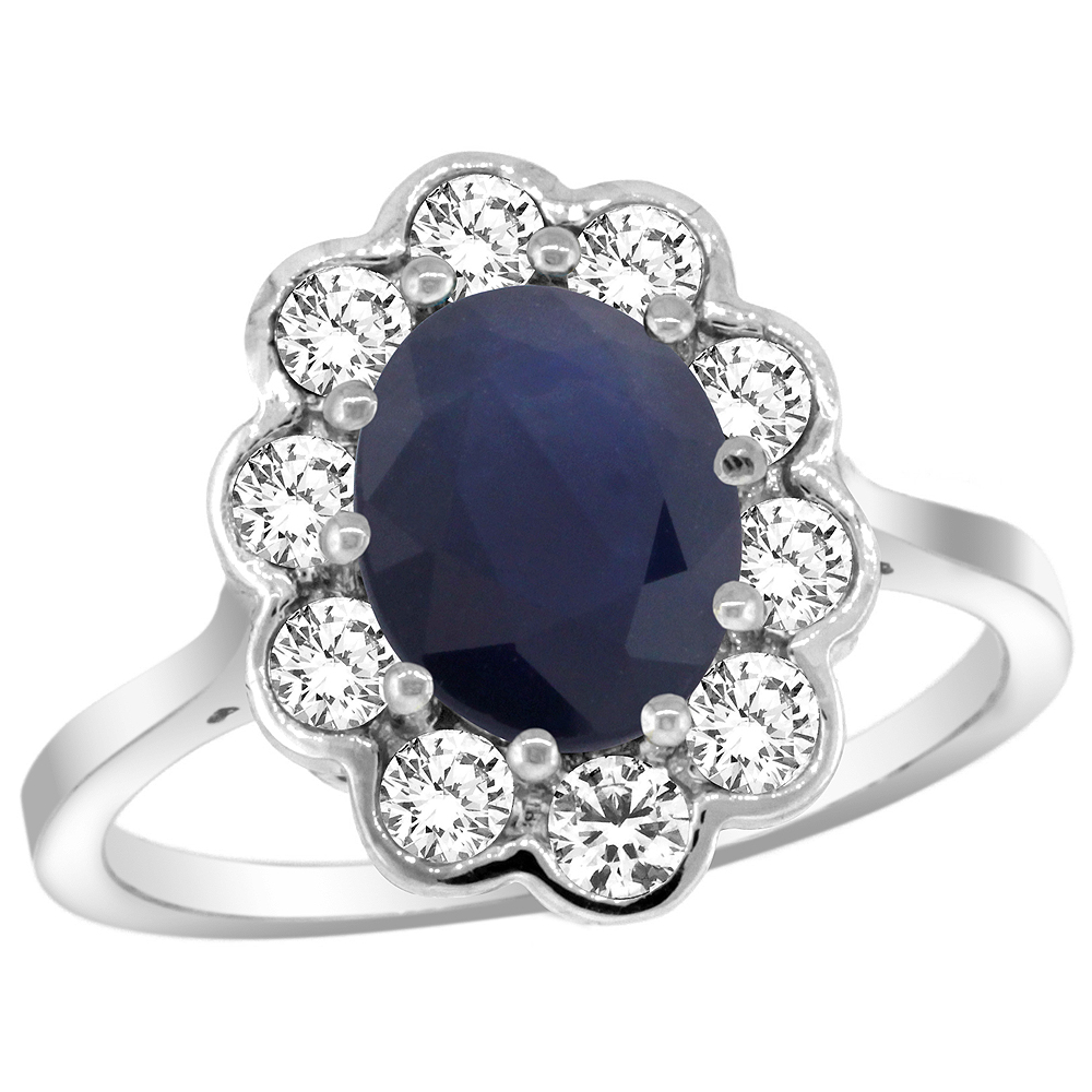 Natural 2.73 ctw Blue-sapphire & Diamond Engagement Ring 14K White Gold - REF-95X2A