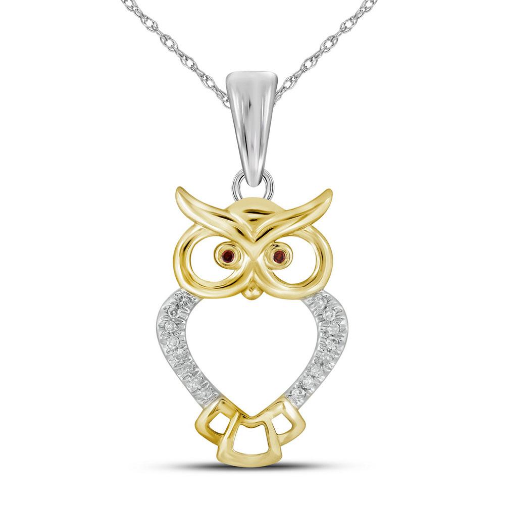 0.05 CTW Diamond Owl Bird Animal Pendant 10KT Yellow Gold - REF-9F7N