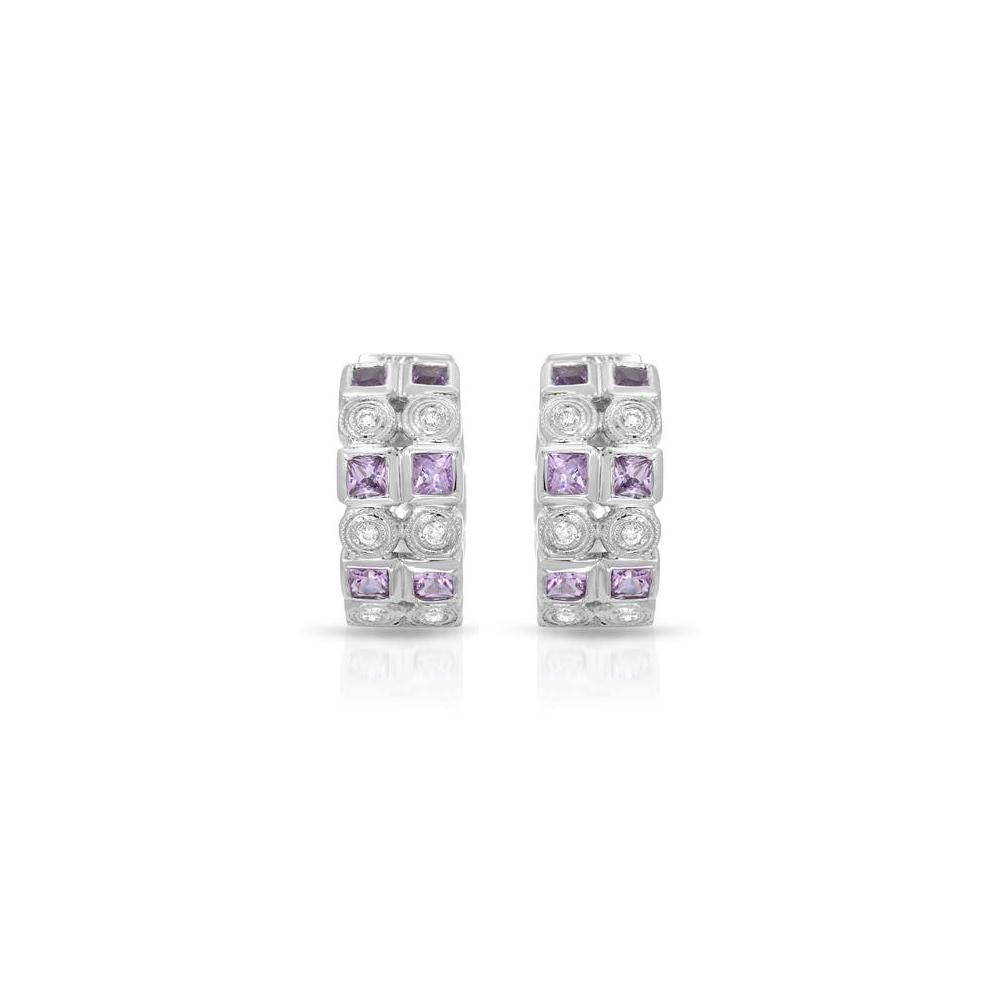 1.38 CTW Pink Sapphire & Diamond Earrings 18K White Gold - REF-83F4N