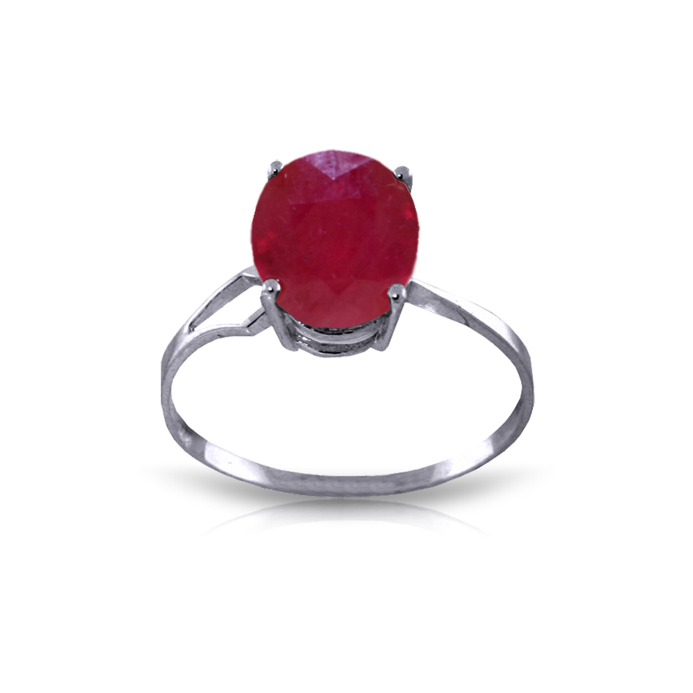 Genuine 3.5 ctw Ruby Ring Jewelry 14KT White Gold - REF-39X6M