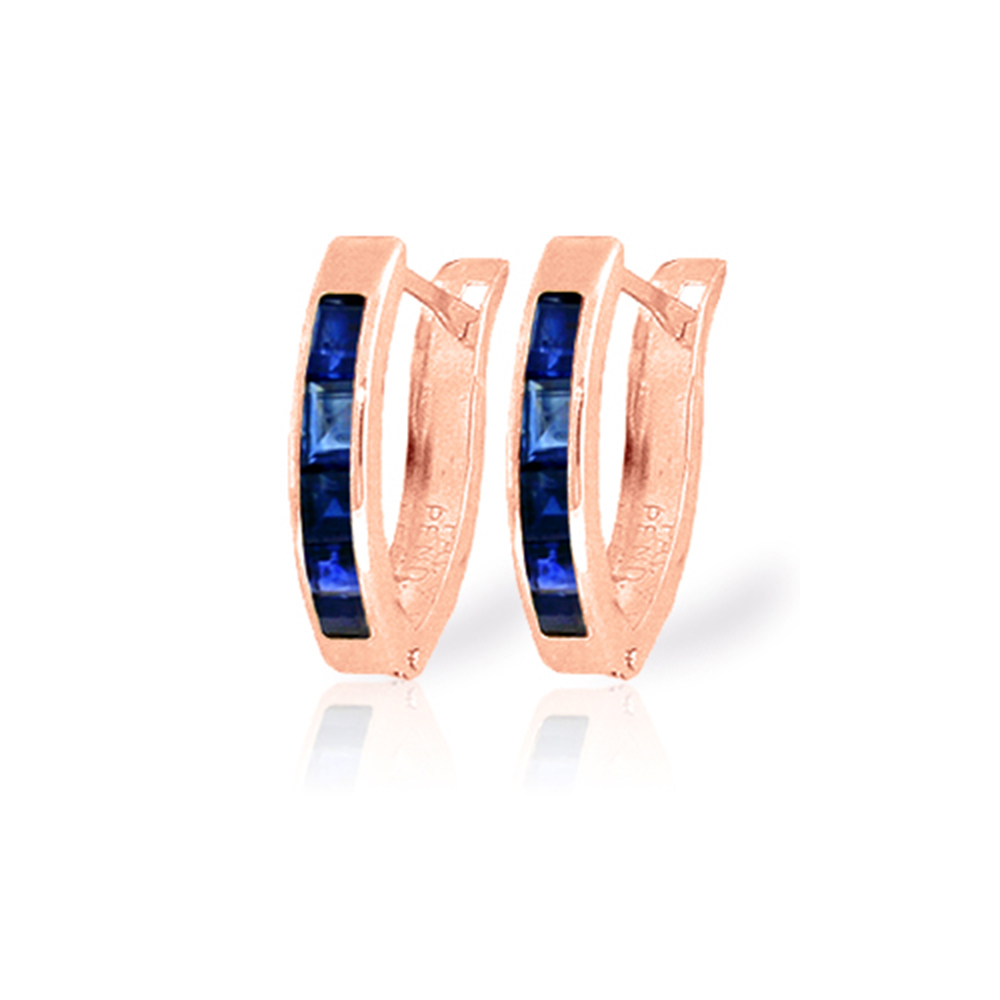Genuine 1.30 ctw Sapphire Earrings Jewelry 14KT Rose Gold - REF-28N2R