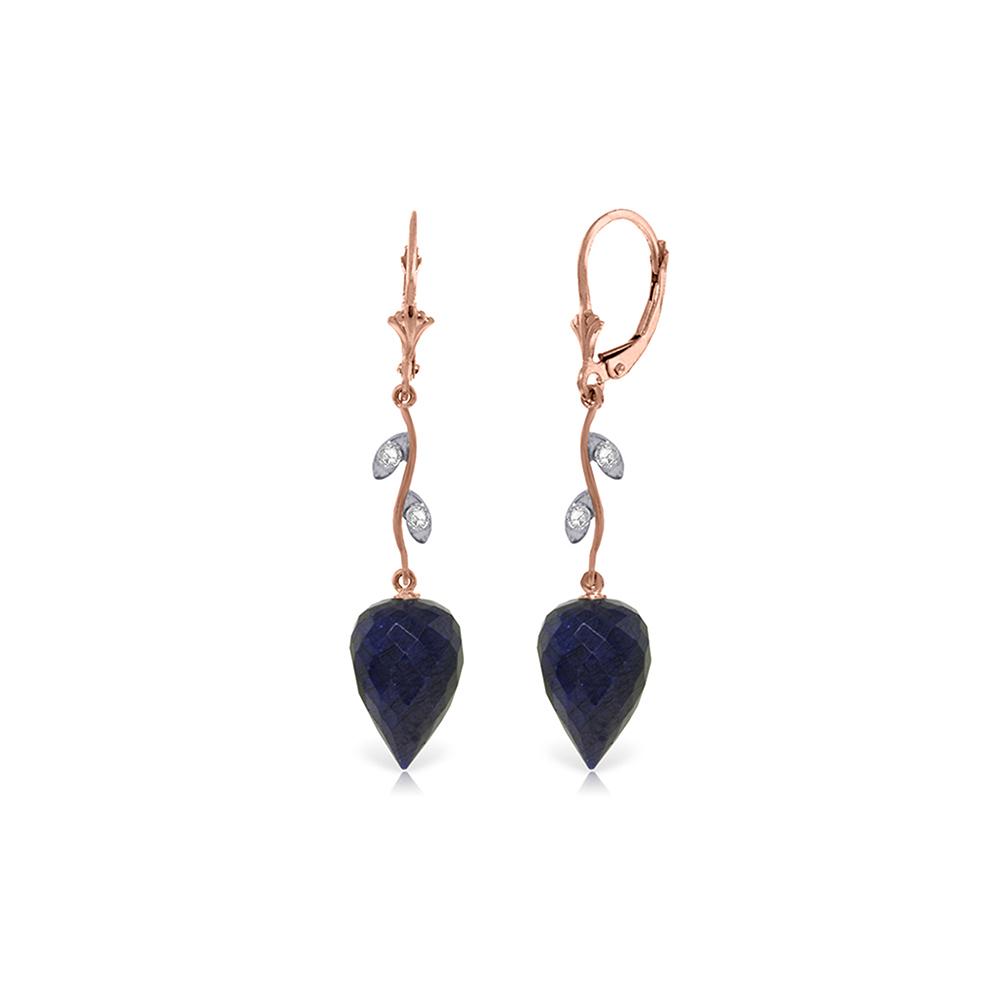 Genuine 25.72 ctw Sapphire & Diamond Earrings Jewelry 14KT Rose Gold - REF-53K4V
